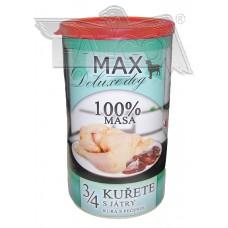 Max deluxe 3/4 kuřete s játry  1200 g různá balení