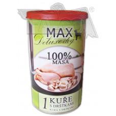 Max deluxe 3/4 kuřete s dršťkami 800 g více pomačkané konzervy