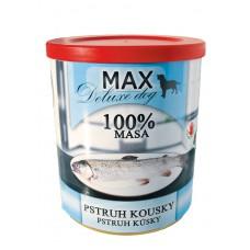 Max deluxe pstruh kousky 800 g etiketa a víčko expirace 10.1.20