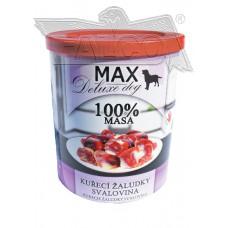 Max deluxe kuřecí žaludky 800 g etiketa a víčko expirace 28.12.19